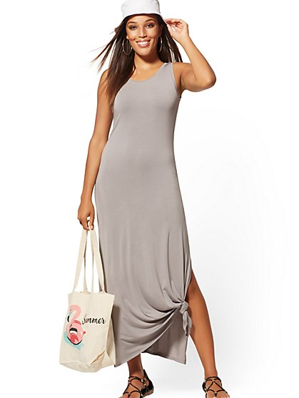Knot-Front Sleeveless Maxi Dress - Soho Street - New York & Company