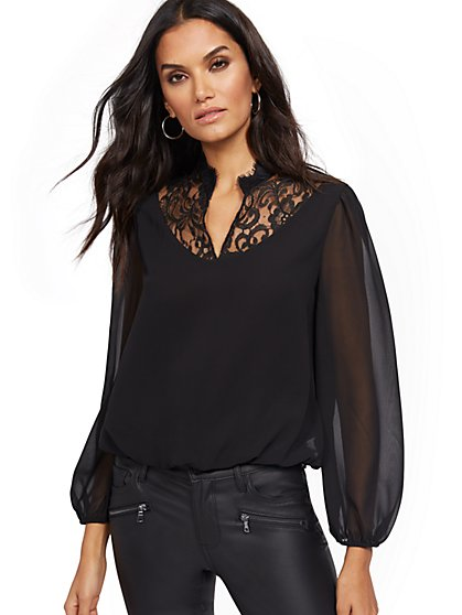 Lace-Accent Blouse - New York & Company