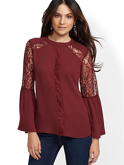 Lace-Accent Flounced-Cuff Blouse - New York & Company