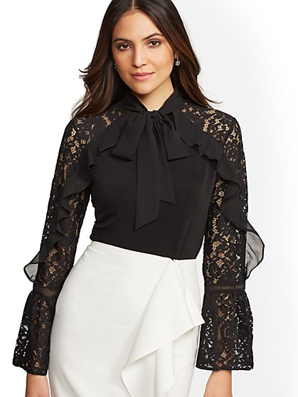 Lace-Accent & Ruffled Bow Top - New York & Company