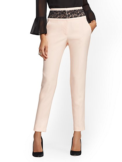 Lace-Accent Slim Pant - 7th Avenue - New York & Company