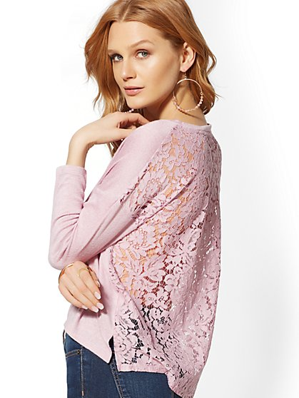 Lace-Back Hacci-Knit Top - New York & Company