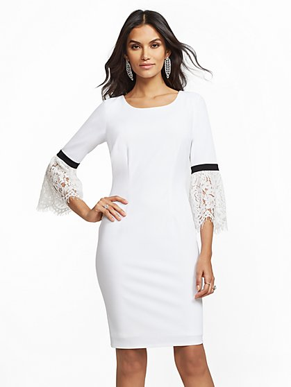 Lace Bell-Sleeve Sheath Dress - New York & Company