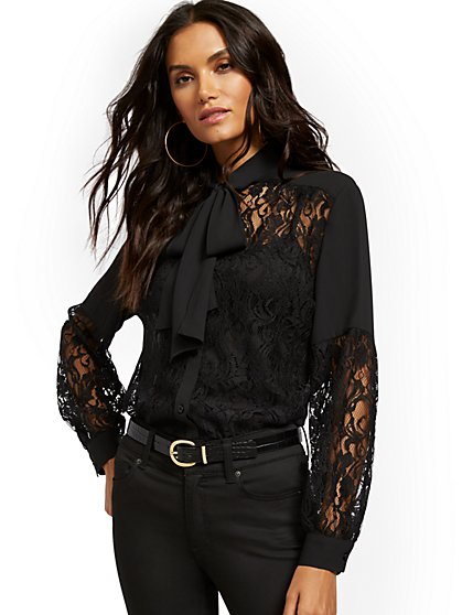 Lace Bow-Accent Blouse - New York & Company