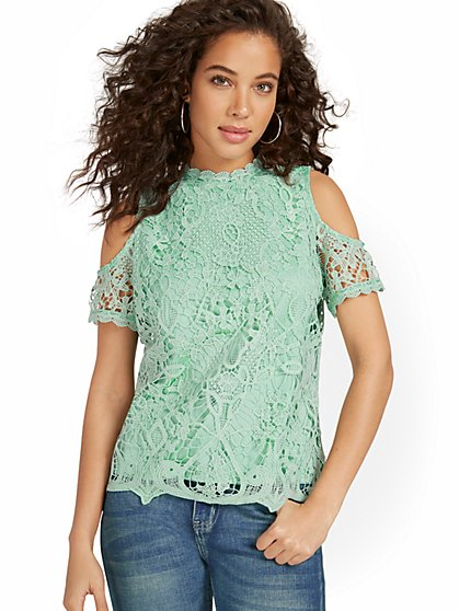 Lace Cold-Shoulder Top - New York & Company
