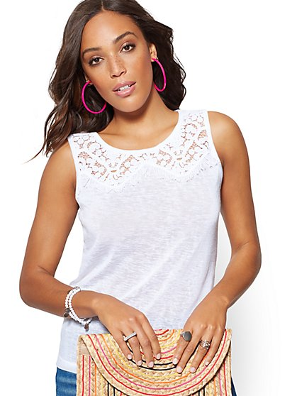 Lace & Fringe Trim Sleeveless Tee - New York & Company