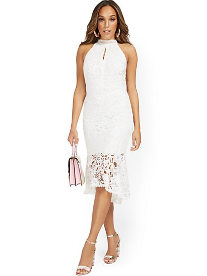 Lace Halter Dress With Flounce Hem - New York & Company