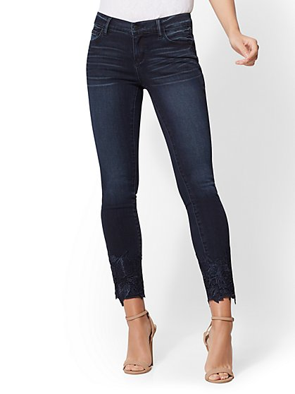 Lace-Hem Ankle Legging - Indigo - New York & Company
