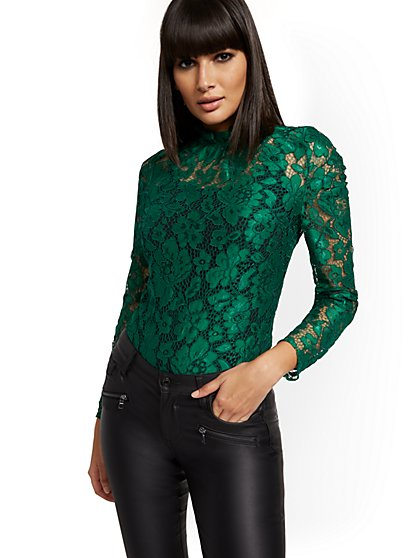 Lace Mock-Neck Blouse - New York & Company