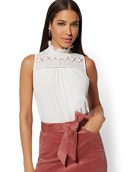Lace Mock-Neck Top - New York & Company