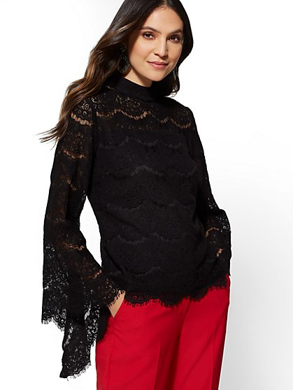 Lace-Overlay Bell-Sleeve Blouse - New York & Company