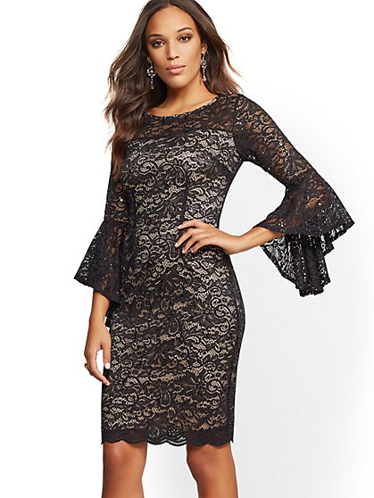 Lace-Overlay Bell-Sleeve Sheath Dress - New York & Company