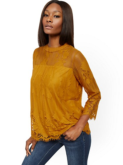 Lace Overlay Blouse - New York & Company