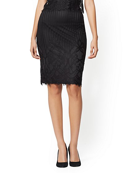 Lace Overlay Pencil Skirt - New York & Company