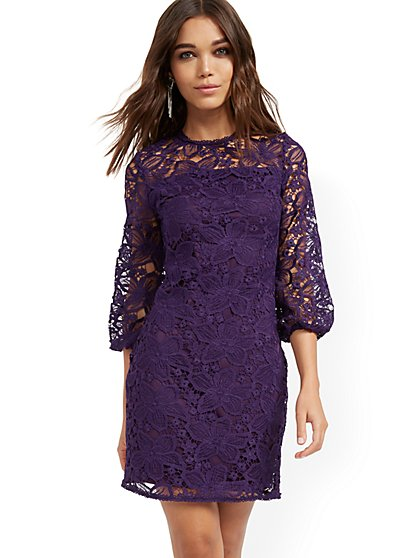 Lace-Overlay Sheath Dress - New York & Company
