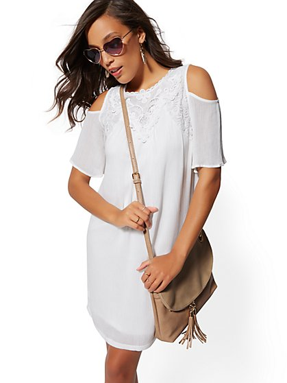 Lace-Trim Cold-Shoulder Shift Dress - New York & Company