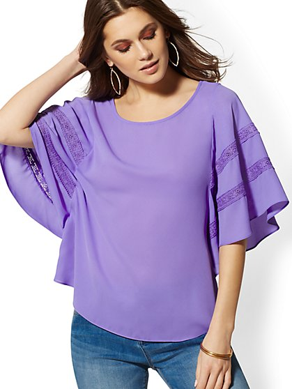 Lace-Trim Drama-Sleeve Blouse - New York & Company