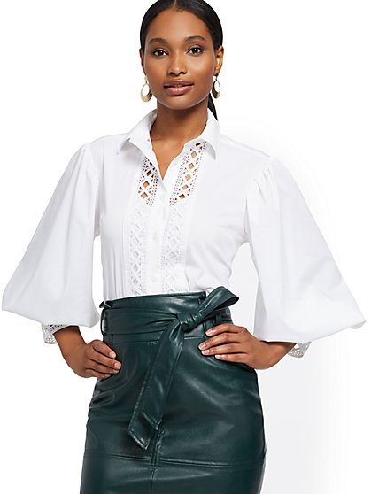 Lace-Trim Poplin Shirt - 7th Avenue - New York & Company
