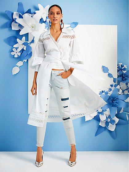 Lace-Trim Poplin Wrap Maxi Shirt - Lily & Cali - New York & Company