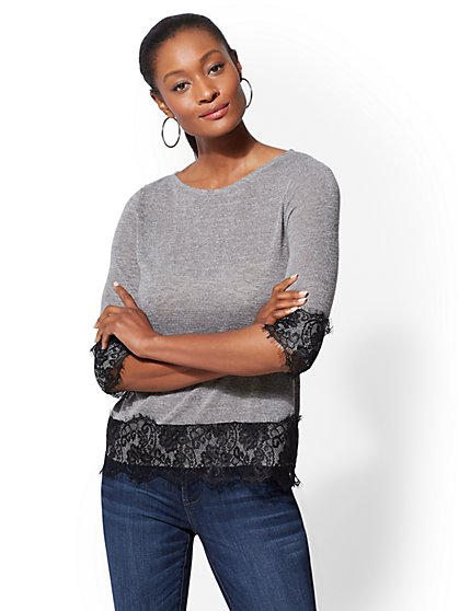 Lace-Trim Scoopneck Hacci Knit - New York & Company