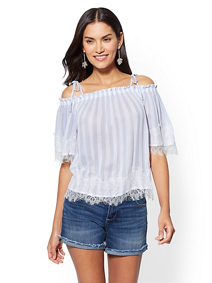 Lace-Trim Stripe Off-The-Shoulder Blouse - New York & Company