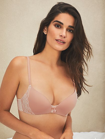 Lace Trim Wireless Push Up Bra - New York & Company
