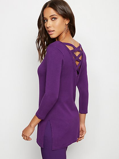 Lace Up-Back Bateau-Neck Sweater - 7th Avenue - New York & Company