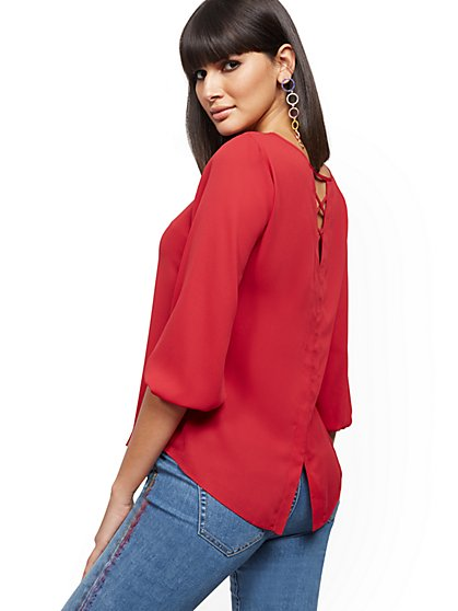 Lace-Up Back Blouse - New York & Company