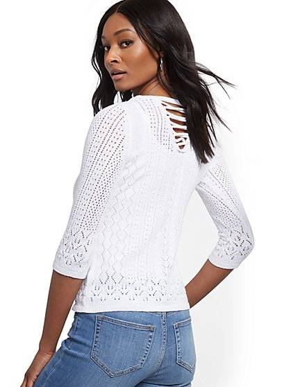 Lace-Up Back Open-Stitch Sweater - New York & Company