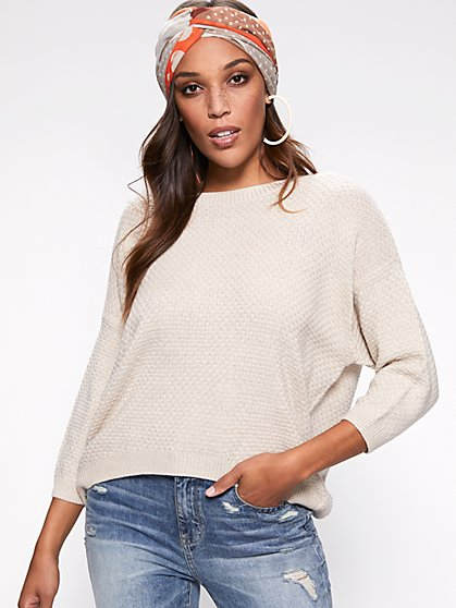 Lace-Up Back Sweater - New York & Company