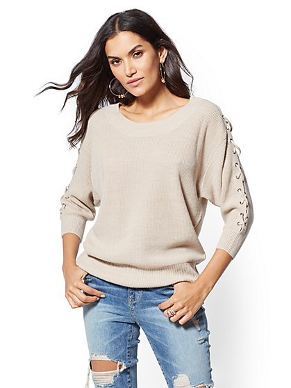 Lace-Up Boatneck Sweater - New York & Company