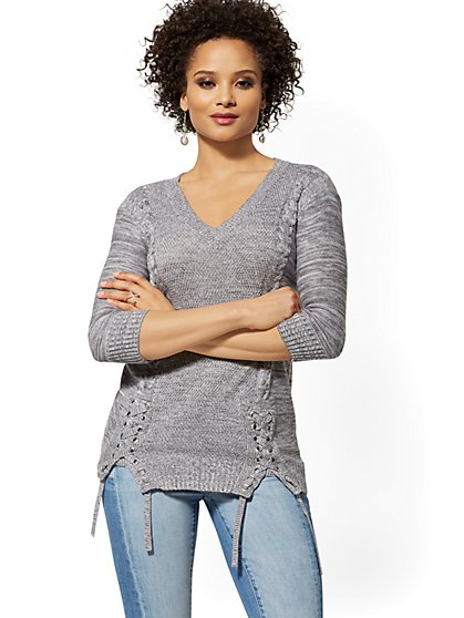 Lace-Up Cable-Knit Tunic Sweater - New York & Company