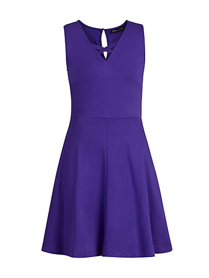 Lace-Up Cotton Fit and Flare Dress - New York & Company