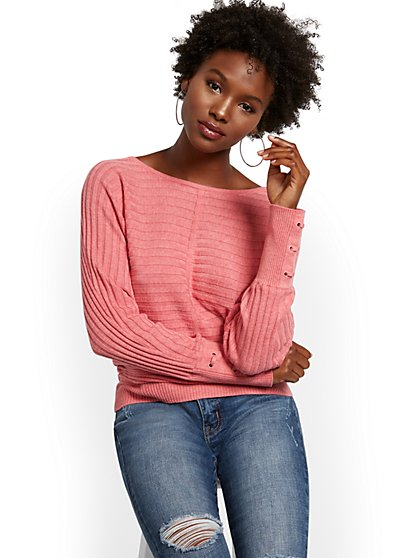 Lace-Up Cuff Dolman Sweater - New York & Company