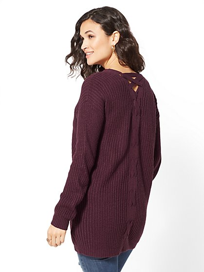 Lace-Up Detail Duster Cardigan - New York & Company