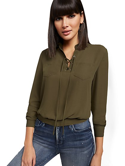 Lace-Up Double-Pocket Blouse - New York & Company