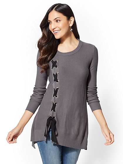 Lace-Up Hi-Lo Sweater - New York & Company