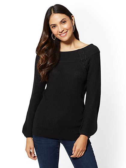 Lace-Up Off-The-Shoulder Shaker Sweater - New York & Company