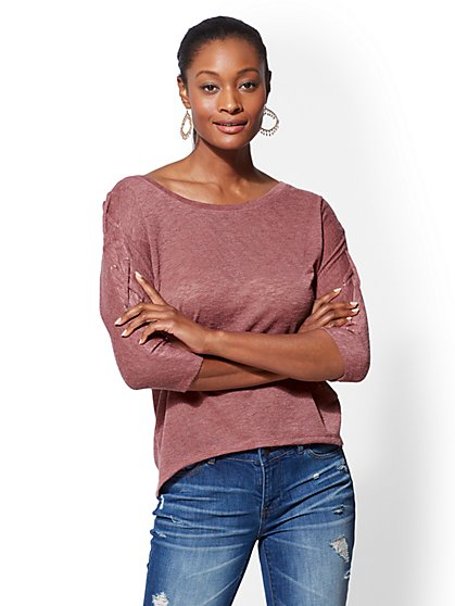 Lace-Up Sleeve Hi-Lo Hacci Knit Top - New York & Company