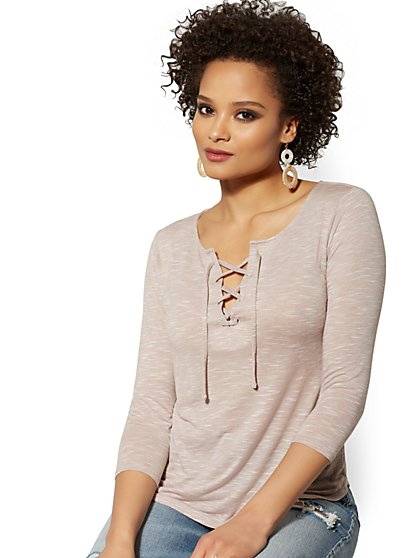 Lace-Up Top - Soho Soft Tee - New York & Company