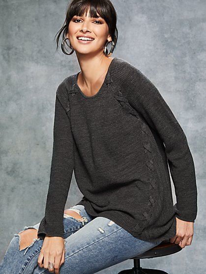 Lace-Up Tunic Sweater - New York & Company