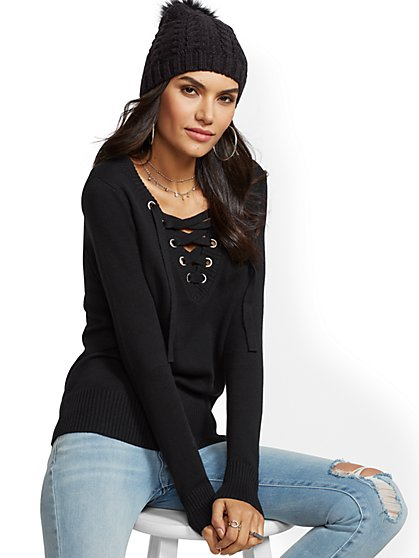 Lace-Up V-Neck Sweater - New York & Company