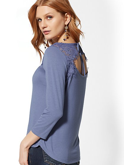 Lace-Yoke 3/4-Sleeve Top - New York & Company