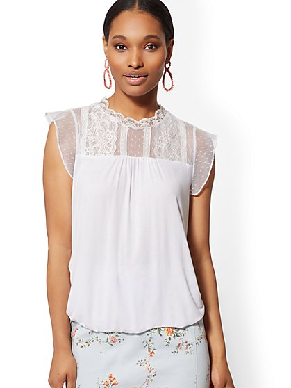 Lace-Yoke Bubble-Hem Top - New York & Company