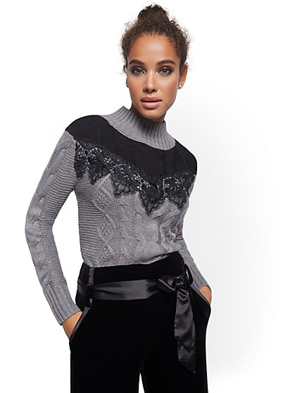 Lace Yoke Cable Sweater - New York & Company