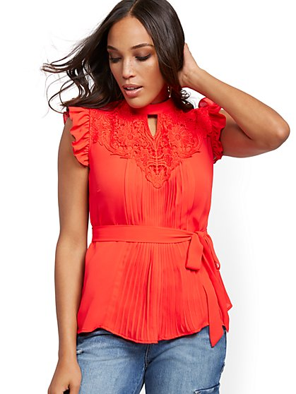 Lace-Yoke Pleated Blouse - Lily & Cali - New York & Company