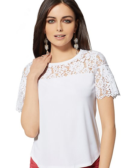 Lace Yoke Tee - 7th Avenue - New York & Company