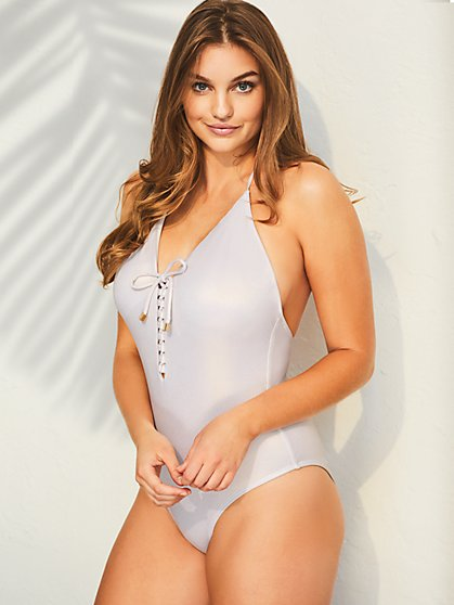 Lace-up Halter One-Piece Swimsuit - New York & Company