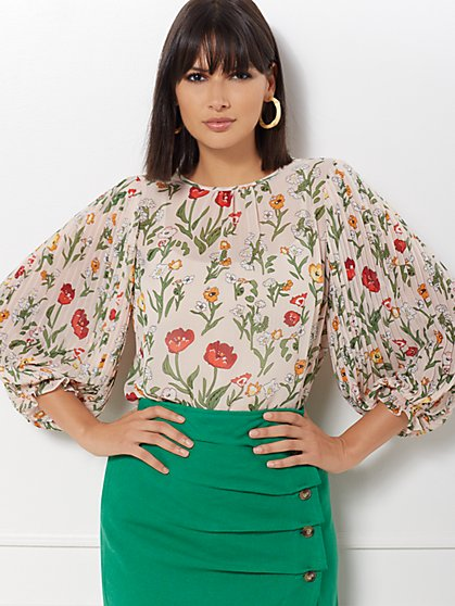 Laila Floral Pleated-Sleeve Blouse - Eva Mendes Collection - New York & Company