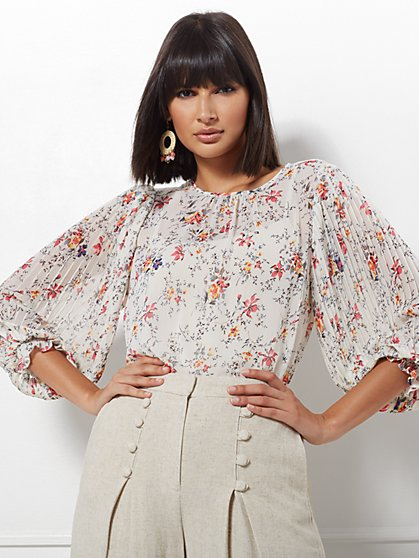 a137b7ad4a Laila Ivory Pleated-Sleeve Blouse - Eva Mendes Collection - New York    Company ...
